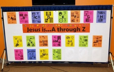 Jesus is a through z free sunday school curriculum for Creative poster board ideas